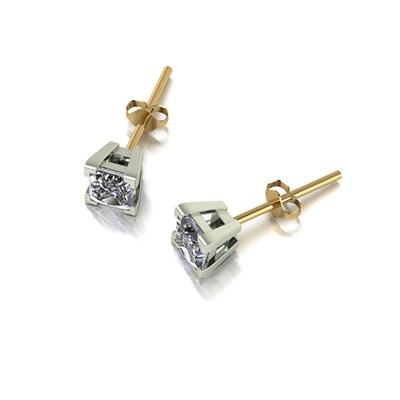 Moissanite 9ct Gold 0.80ct eq Square Solitaire Earrings