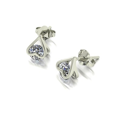 Moissanite 9ct White Gold 1.00ct eq Heart Earrings