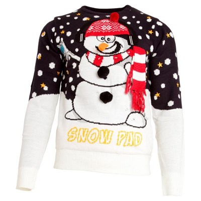 Brave Soul Mens Light Up 3D Snowman Knitted Christmas Jumper