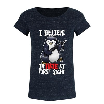 Psycho Penguin Womens/Ladies I Believe In Hate At First Sight T-Shirt