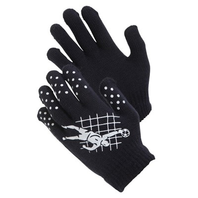 Childrens Boys Football Design Thermal Magic Gripper Gloves