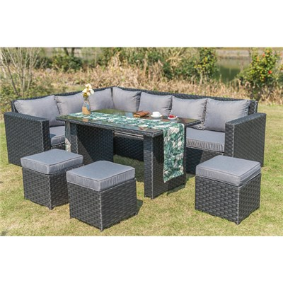 Barcelona 9-seater Rattan Set - Black