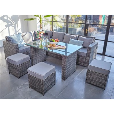 Barcelona 9 Seater Rattan Set in Grey
