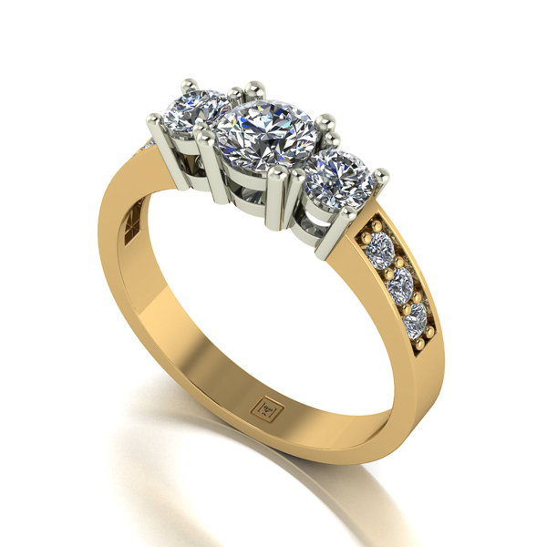 Image of Lady Lynsey Moissanite 9ct Gold 1.00ct eq Trilogy Ring