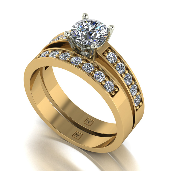 Image of Lady Lynsey Moissanite 9ct Gold 1.20ct eq Solitaire Ring Set