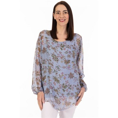 Fizz Denim Blue Dense Floral Long Sleeve Silk Top