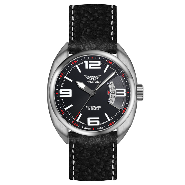 Image of Aviator Gents Properller Rotor Swiss Automatic Watch with Genuine Leather Strap & Additional Strap