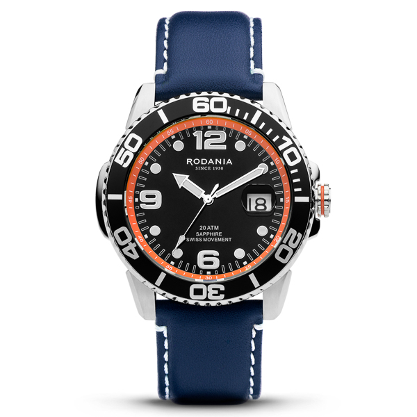Image of Rodania Gents Swiss Cycling Watch with Genuine Leather Strap