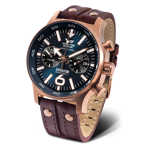 Image of Vostok Europe Gents Expedition N1 Chronograph PVD Watch with Genuine Leather Strap