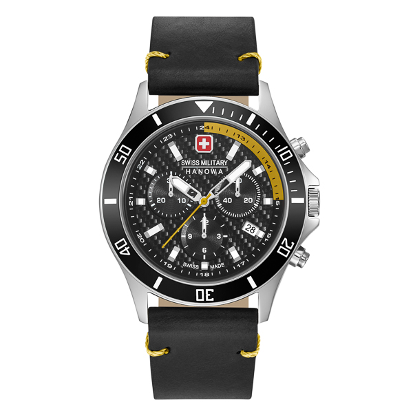 Image of Swiss Military By Hanowa Gents Flagship Racer Chronograph Watch with Genuine Leather Strap