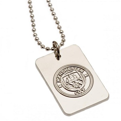 Manchester City FC Silver Plated Dog Tag And Chain