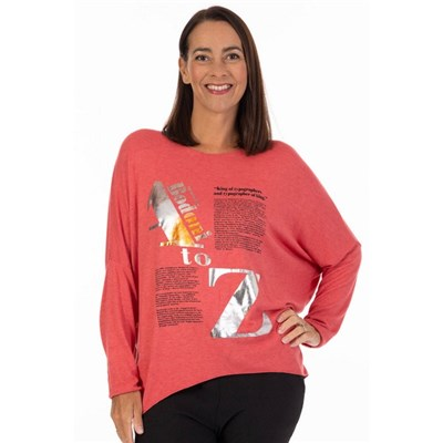 Fizz Coral Foil A to Z Sweater