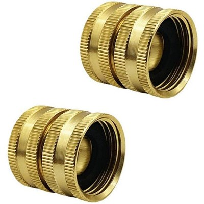 2 Pieces Brass 19Mm Garden Hose Adapter Double Female Quick Connect With Gasket