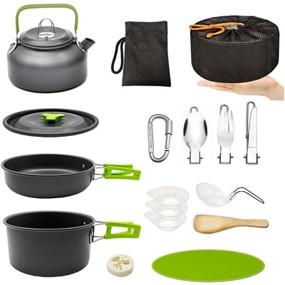 Camping Pan And Pot Set, Portable Outdoor Cooking Utensils, Teapot Bowl Cutlery Set With Mesh, Suitable For 2-3 People (Cooking Set)