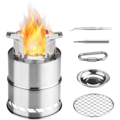 Camping Wood Stove, Folding Backpack Windshield Stove, Portable Stainless Steel Wood Stove, Outdoor  Alcohol Stove With Blowpipe, Alcohol Bowl & Grill