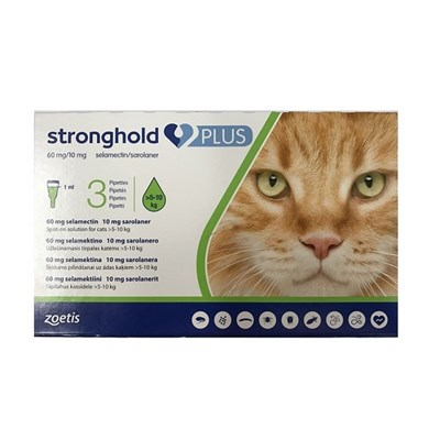 Stronghold Plus 60 mg/10 mg spot-on solution for Large Cats >510 kg (11-22 lbs) 3 pack