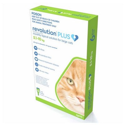 Revolution Plus Flea, Worm And Tick Prevention For Large Cats 11.1-22 lbs (5-10 kg), Green 6 Pack