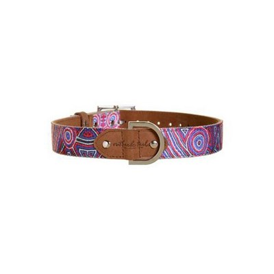 Outback Tails Leather Dog Collar (Digging For Truffles - Blue And Red ) Small