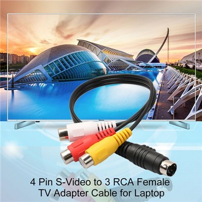 Professional 4 Pin S-Video to 3 RCA Female TV Adapter Cable for Laptop