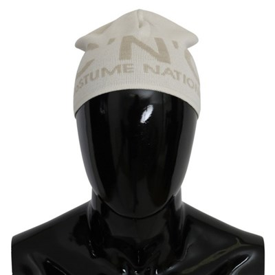 Costume National Mens Wool Branded Hat White HAT9042