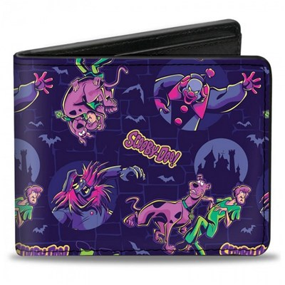 Scooby-Doo and Shaggy w/ Ghost Clown Poses Scattered Bi-Fold Wallet