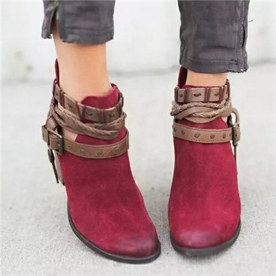EI Contente Women High Heels Boots Buckle Strap Ankle Shoes Winter Autumn Casual Chunky Heels Boots