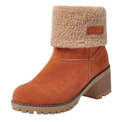 EI Contente Women Winter Boots Short Snow Flock Warm Bootie Shoes Slip On Short Ankle Chunky Heel Boots