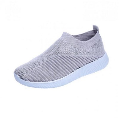 EI Contente Women Walking Sneakers Knitted Mesh Slip On Shoes Breathable Flat Pumps Casual Trainers