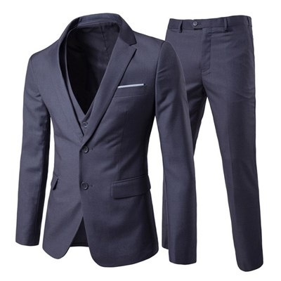 Silktaa Mens Solid Color Casual Two-button Suit, Three-piece -- Coat & Vest & Pants