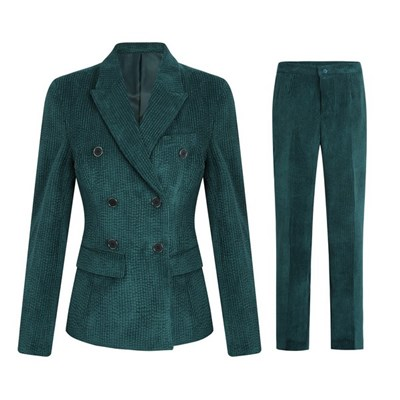 Silktaa Womens Solid Color Lapel Stripe Double-breasted Corduroy Tops & Pants Suit