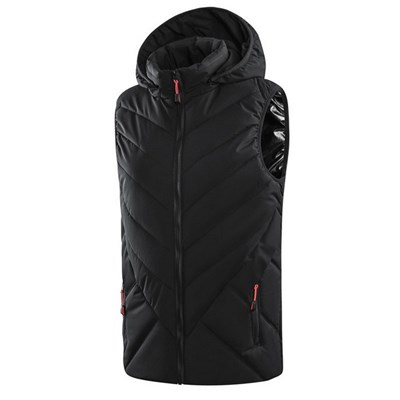 EI Contented Women Electric Hooded Heated Vest Winter USB Charging Waistcoat Thermal Gilet Warm Jacket