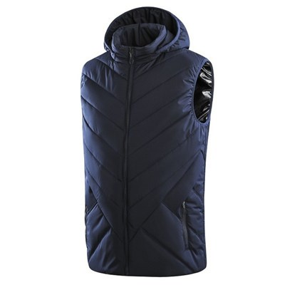 EI Contented Men Electric Hooded Heated Vest Winter USB Charging Waistcoat Thermal Gilet Warm Jacket